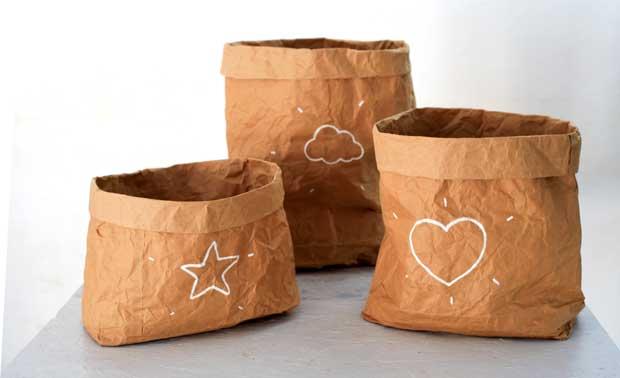 Recyclage créatif : Sacs (à bazar) en papier kraft