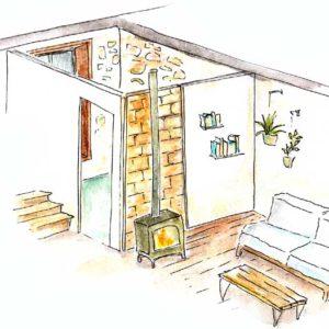 Eco-rénovation : Une paroi intérieure<br>en brique de terre