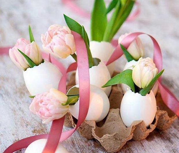 P ques id es d co nature avec des coquilles d oeufs et des fleurs esprit cabane idees - Idee pour paques ...