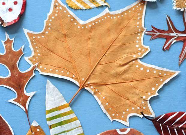 Bricolage enfants : Feuilles d'automne décorées