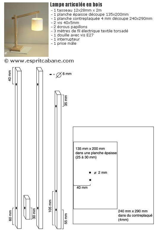 Lampe articulée en bois , Esprit Cabane, idees creatives et
