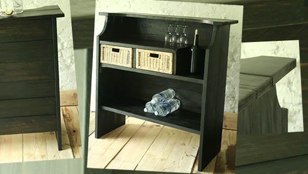 bar bois et osier. Black Bedroom Furniture Sets. Home Design Ideas