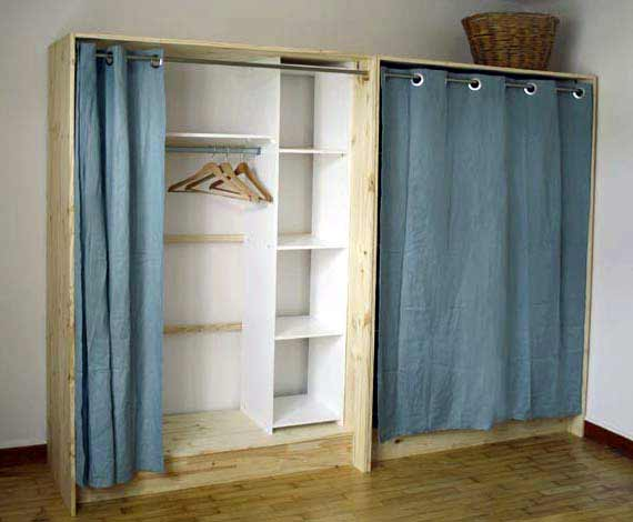 Dressing bois et lin esprit cabane idees creatives et - Comment faire des etageres dans un placard ...