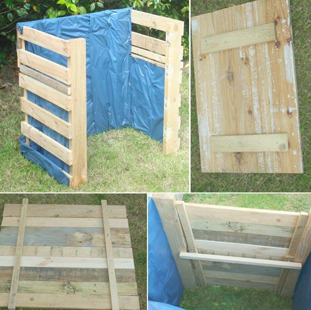 fabriquer une faade amovible qui pourra coulisser le long des chevrons ensuite assembler quelques morceaux de bois pour faire un couvercle - Fabriquer Un Composteur En Bois Avec Des Palettes