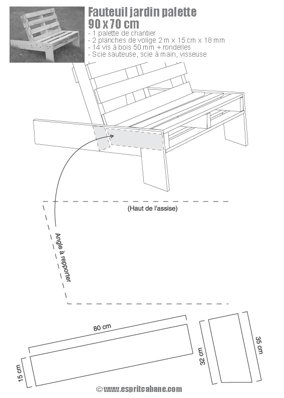 Fauteuil de jardin en palette esprit cabane idees - Plan chaise de jardin en bois ...