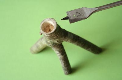 bougeoir et mèche à bois
