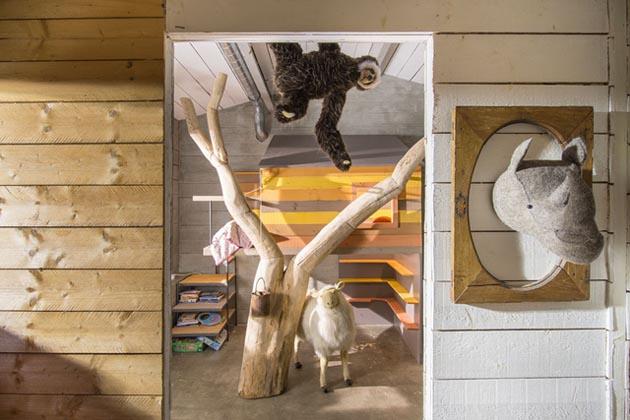 Cabane l arbre entre dans la chambre esprit cabane - Chambre enfant cabane ...