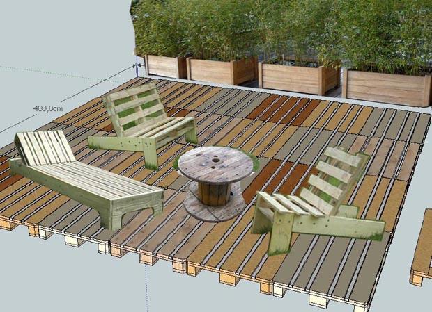 Une terrasse 100 r cup quimper esprit cabane idees for Terrasse avec palettes bois