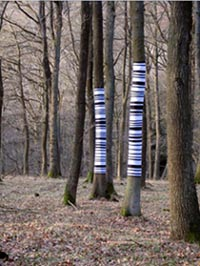 land art arbre code barre