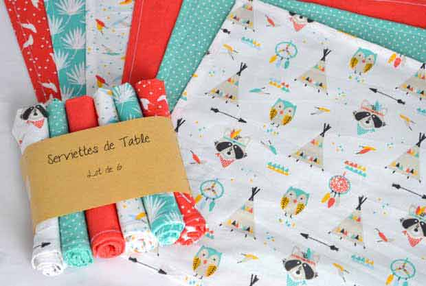 serviettes de table tissu